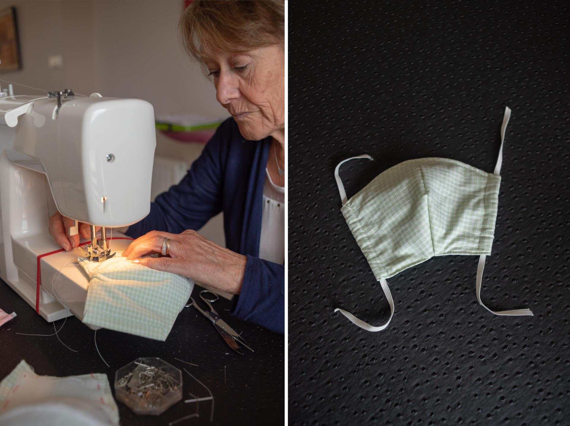 Annie Cam, retraitée, fabrique des masques selon le protocole du CHU de Grenoble. Le 28 mars, elle en avait déjà fait plus de 50 pour l'Ehpad du Conquet, les cabinets médicaux et la grande surface de Plougonvelin – Saint-Renan, le 27 mars.