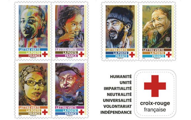 Détail du carnet Croix-Rouge française paru en 2019, réalisé par C215.