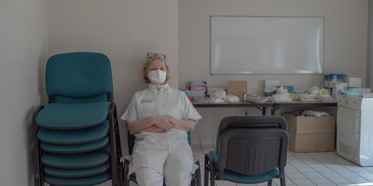 Docteur de la Soudière au centre de consultation Covid de St Renan, le 27 mars.