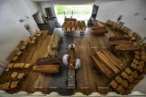 Des cercueils arrivent de la région de Bergame, une des plus touchées de toute l'Italie.