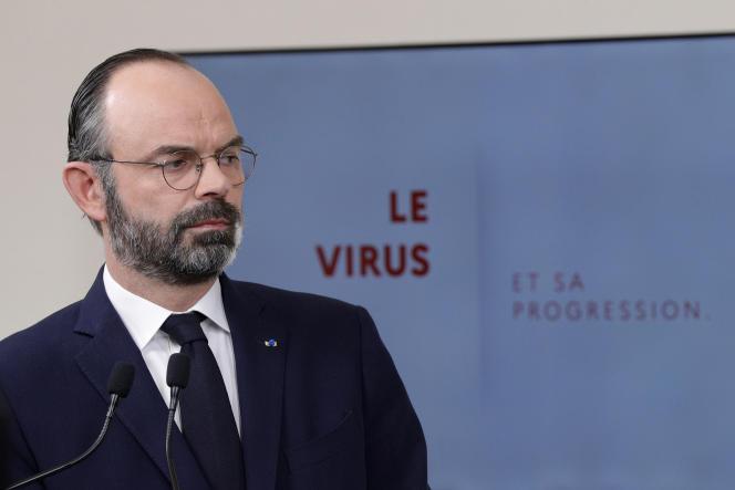 Le premier ministre français, Edouard Philippe, lors d'une conférence de presse à Paris, le 28 mars, au douzième jour du confinement décrété par les autorités pour enrayer la pandémie de Covid-19.