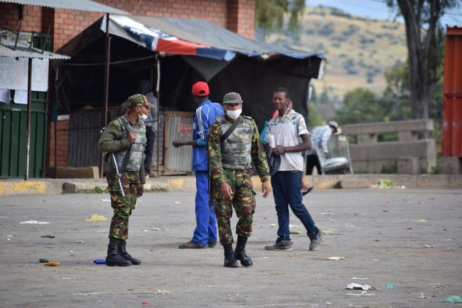 A Maseru, capitale du Lesotho, le 30 mars 2020. Bien que le pays ne soit pas encore touché par la pandémie de coronavirus, le premier ministreThomas Thabane a décidé d'un confinement de vingt-cinq jours.