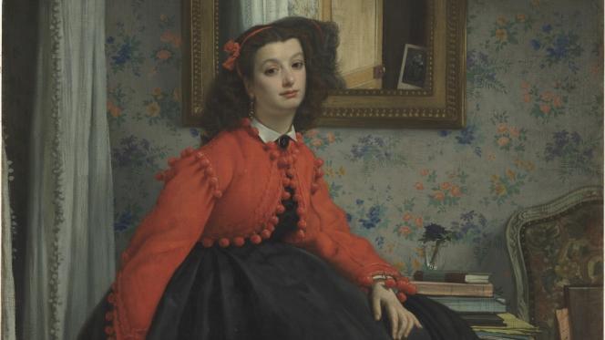 «Portrait de Mlle L.L...», dit aussi «Jeune fille en veste rouge», huile sur toile de James Tissot.