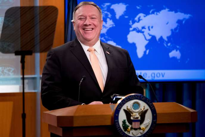 Mike Pompeo, le secrétaire d'Etat américain,lors d'une conférence de presse, mardi 31 mars, à Washington.