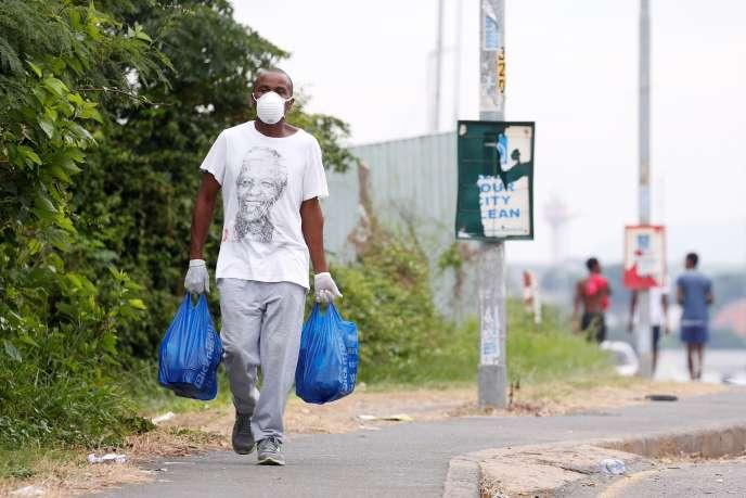 Dans un township de Durban, en Afrique du Sud, le 31 mars 2020, où a été décrété un confinement total de vingt et un jours.