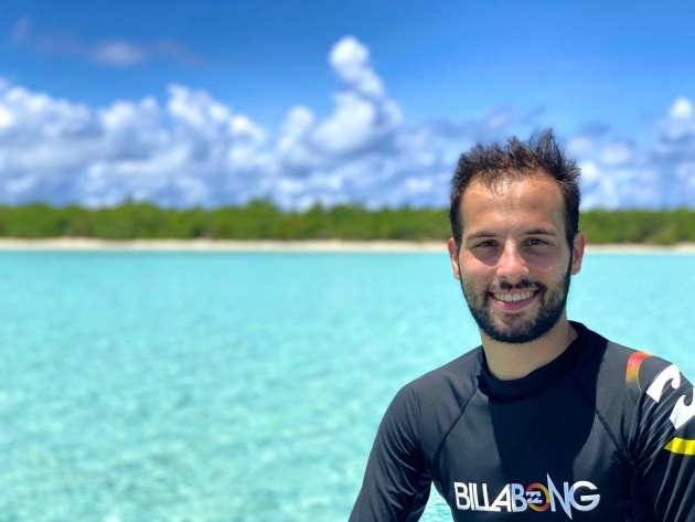 Romain Miot trên hòn đảo Faioa, ở Wallis và Futuna.
