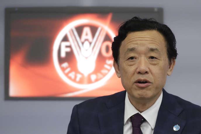 Qu Dongyu, le directeur général de l'Organisation des Nations unies pour l'alimentation et l'agriculture (FAO), lors d'une conférence de presse au siège de la FAO à Rome, le 14 octobre 2019.