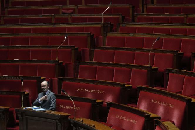 Le premier ministre Edouard Philippe lors de la session de questions au gouvernement à l'Assemblée Nationale, le 31 mars.