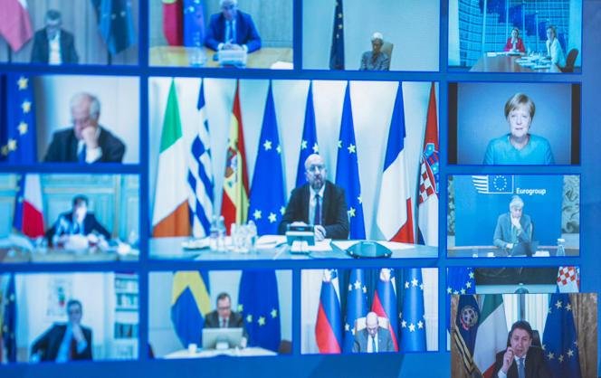 Mosaïque des membres du Conseil européen, vue depuis le bureau du premier ministre italien Giuseppe Conte, lors d'une visioconférenceà Rome, le 26 mars.