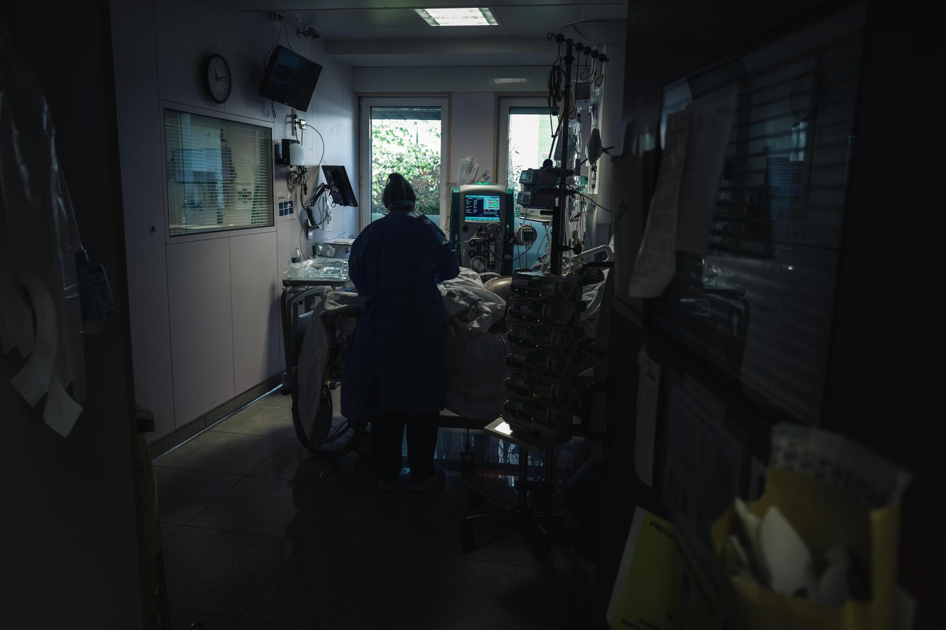 Dans une des chambres du«département Covid-19», le 30 mars.