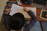 Un élève fait ses devoirs à la maison pendant le confinement, le 21 mars, à Montlouis-sur-Loire (Indre-et-Loire).