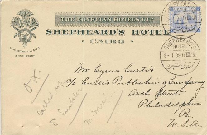 Carte postale expédiées de l'hôtel Shepheard, au Caire.