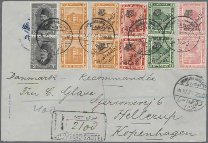 Belle lettre recommandée de 1923 partie du Shepheard's Hotel, au Caire, mise en vente par Christoph Gartner, en Allemagne (prix de départ 200 euros).