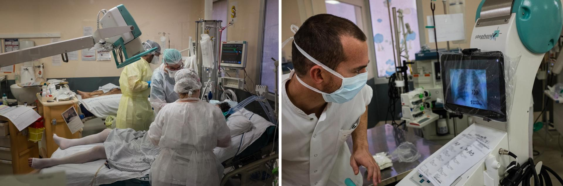 Une radiographie pulmonaire est effectuée au sein même de l'unité. Elle est immédiatement interprétée par Etienne, médecin-réanimateur.