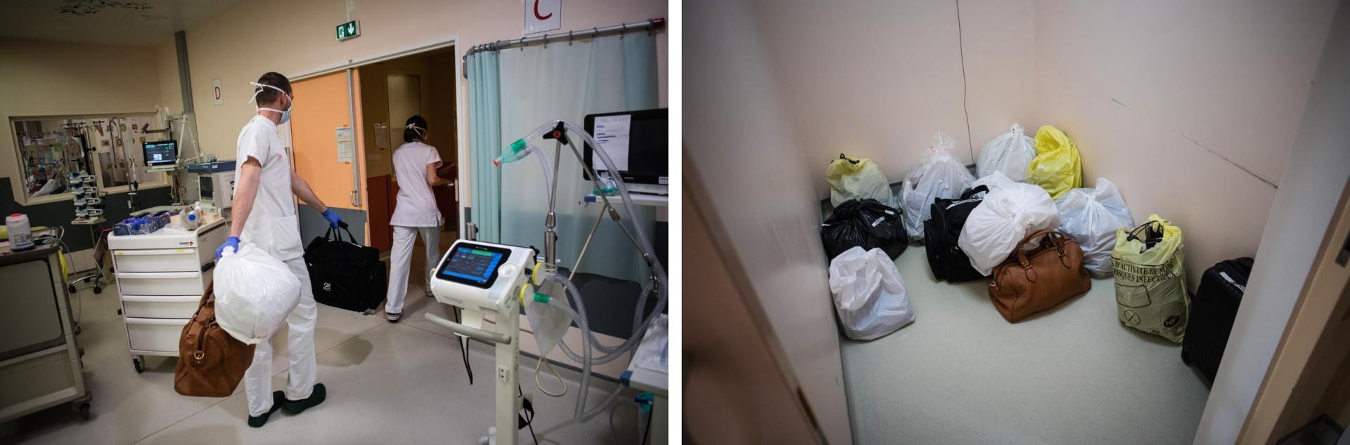 En «réa 4», les patients sont installés dans des espaces ouverts. Par manque de place, leurs effets personnels sont entreposés dans une salle de repos reconvertie en salle de quarantaine. Ces affaires sont potentiellement «contaminées».