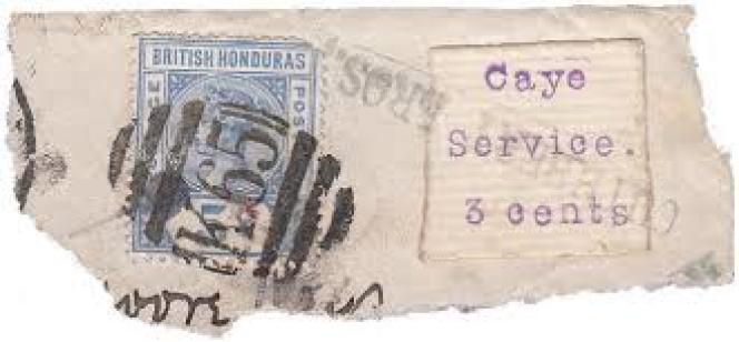 Premier timbre-poste de Cayes, tapé à la machine à écrire, sur fragment de lettre.