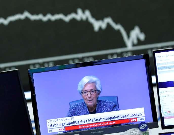 Comme d'autres instituts d'émission, la Banque centrale européenne fait marcher la planche à billets. Christine Lagarde, sa présidente, le 12 mars.