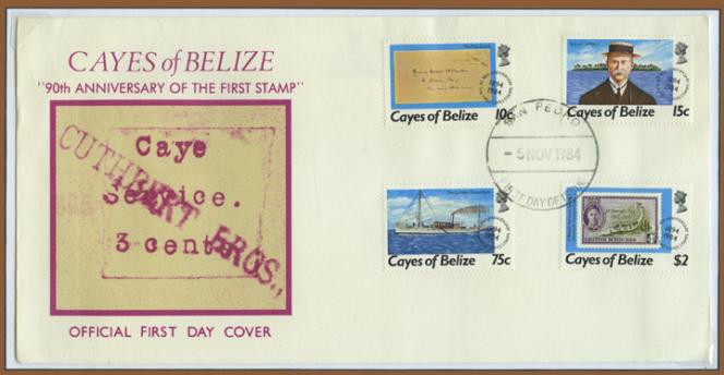 90e anniversaire du premier timbre de Cayes, émission commémorative à l'occasion du premier timbre« moderne» de Cayes of Belize. L'illustration du pli reproduit un timbre dapé à la machine le siècle précédent.