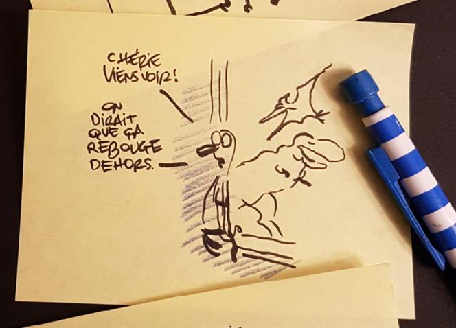 Dessin sur étiquettes autocollantes de Jean-Yves Ferri, en dernière page de «Robinson».