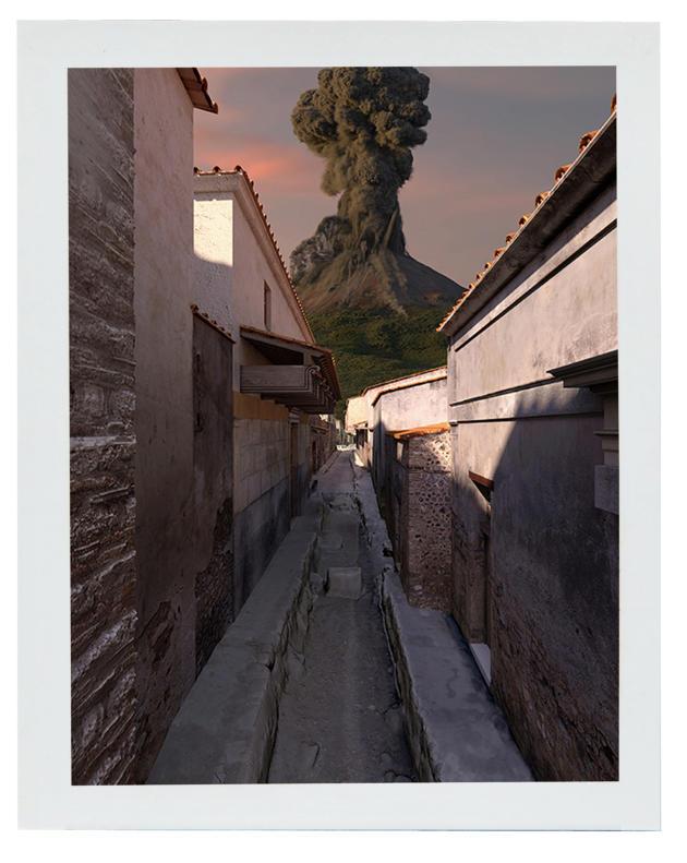 Reconstitution d'une rue avec vue sur le volcan.