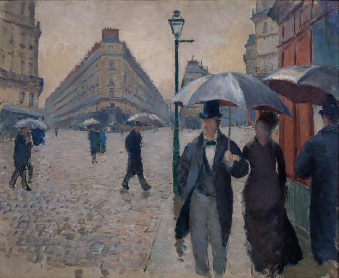 Gustave Caillebotte (1848-1894). Rue de Paris. Temps de pluie. 1877. Huile sur toile 54× 65cm. Legs Michel Monet (1966). Musée Marmottan Paris.
