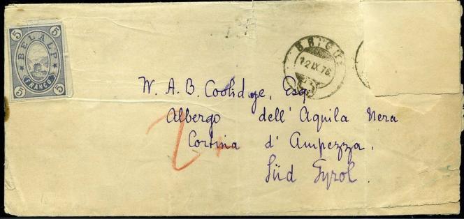 Lettre avec timbre du Belalp, cachet de la poste (Brig) faisant foi, 150 euros sur un site Internet de vente.