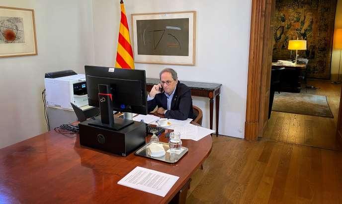 Le président du gouvernement catalan Quim Torra, le 3 avril à Barcelone.