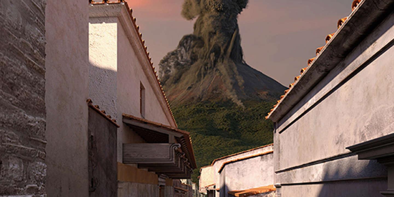 Reconstitution rue avec vue volcan