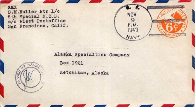 Pli passé par la « Fleet poste office» (la poste navale) américaine en 1943.