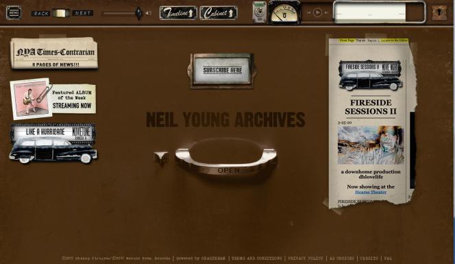 Page d'accueil du site officiel de Neil Young.