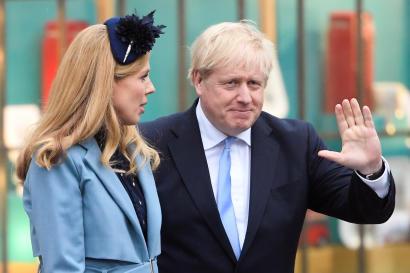 Boris Johnson et sa compagne Carrie Symonds le 9 mars.