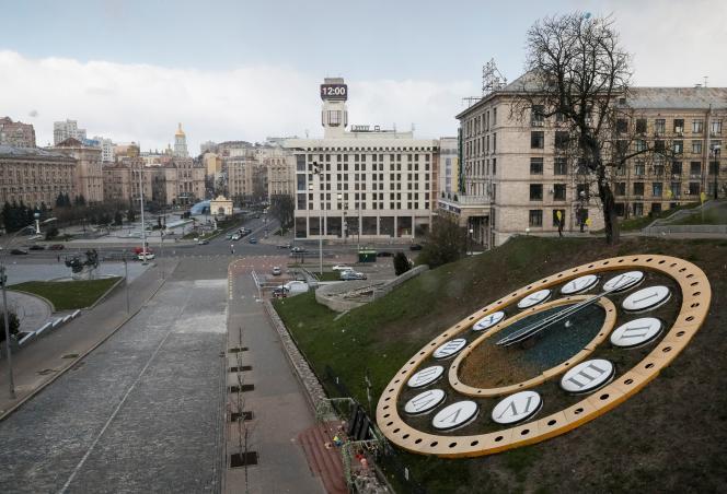 Place de l'Indépendance, à Kiev, lors de l'épidémie due au coronavirus, le 31 mars.