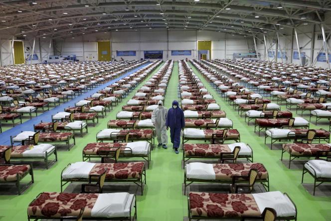 Un hôpital temporaire pour les patients atteints du coronavirus a été mis en place par l'armée iranienne au centre d'exposition international du nord de Téhéran, le 26 mars.