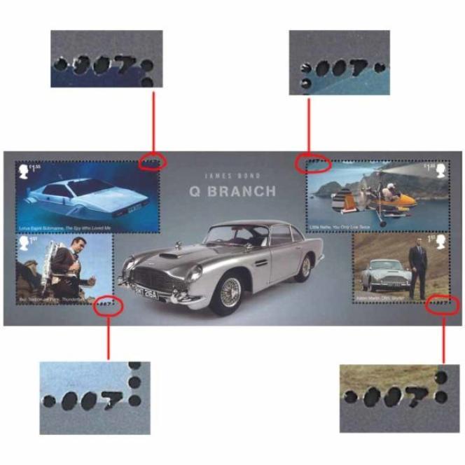 Série« James Bond»: tout est dans le détail avec une dentelure (perforation) en forme de 007...
