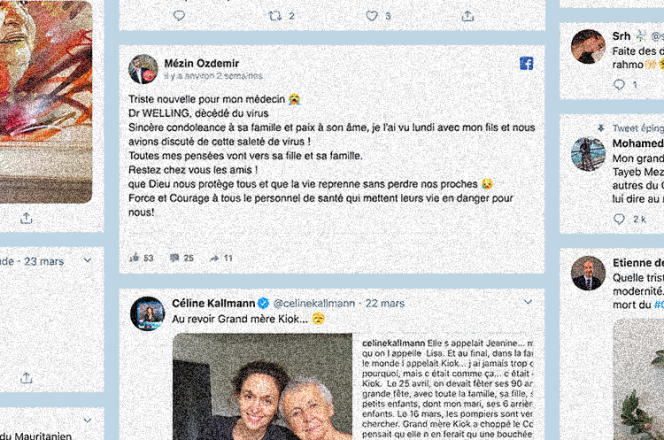 Captures d'écrans de tweets en hommage aux morts du Covid-19.