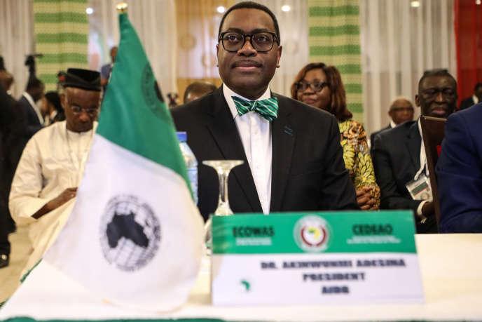 Le président de la Banque africaine de développement, Akinwunmi Adesina, en décembre 2019, à Abuja, au Nigeria.