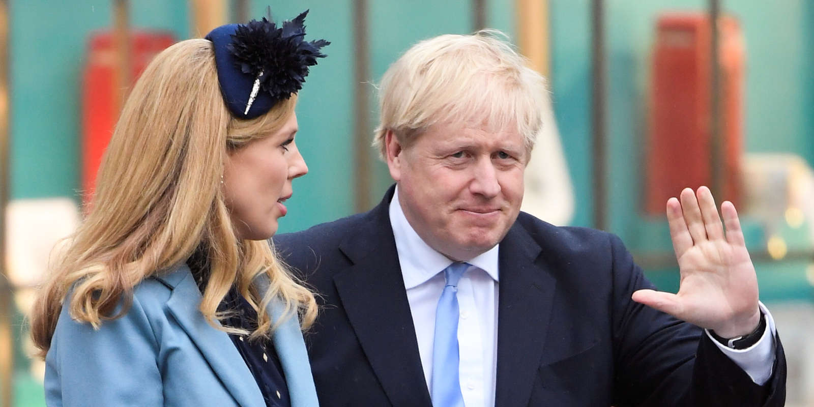 Boris Johnson et sa compagne Carrie Symonds le 9 mars.
