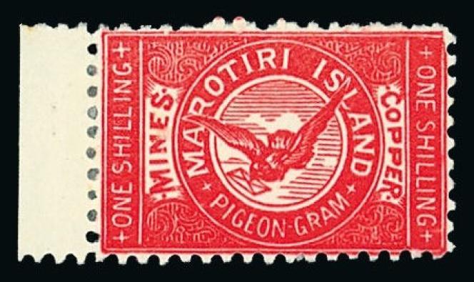 «Great Barrier Island», poste par pigeons, Marotiri, 1899, estimation 100/150 livres.