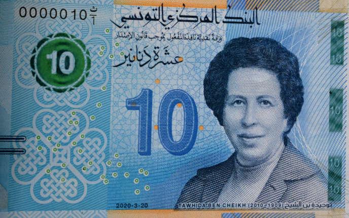 Le nouveau billet de 10dinars à l'effigie de la médecin Tawhida Ben Cheikh.