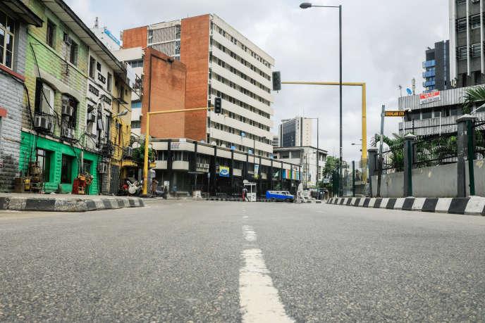 Le quartier central des affaires déserté à Lagos, le 31 mars 2020.