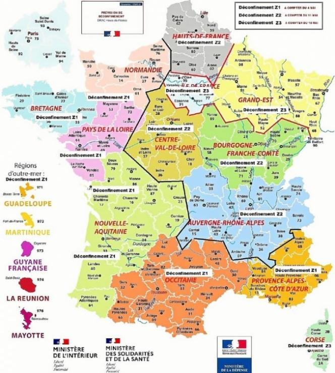 La fausse carte de France du déconfinement par régions et par dates diffusée sur les réseaux sociaux.