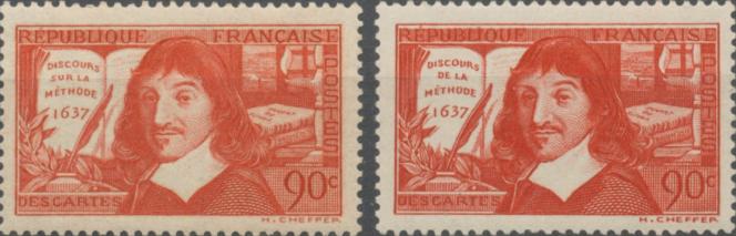 Versions erronée et corrigée du timbre sur Descartes (1937).