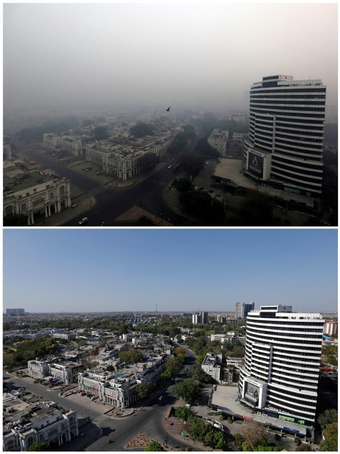 « La pollution atmosphérique est responsable de la mort prématurée de 5 à 9 millions de personnes par an dans le monde» (photomontage : New Delhi le 8 novembre 2018 et le 8 avril 2020).