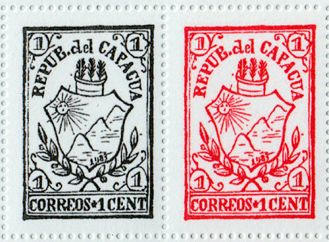Réimpressions de timbres de la « République de Capacua», pays imaginaire créé en guise de poisson d'avril par un négociant philatélique belge facétieux du XIXe siècle, Jean-Baptiste Moens.