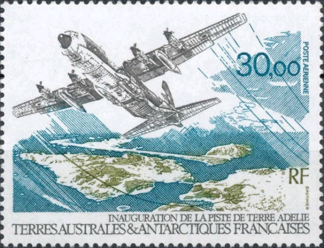 Timbre sur l'inauguration de la piste de Terre Adélie, jamais inaugurée (Terres australes et antarctiques françaises, 1993).