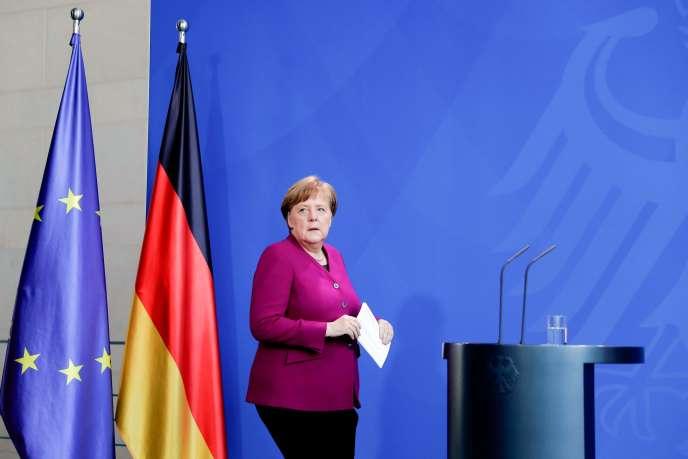 La chancelière allemande, Angela Merkel, lors d'une conférence de presse, le 9 avril à Berlin.