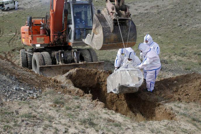 Près d'Herat, à la frontière entre l'Iran et l'Afghanistan, des agents municipaux enterrent le corps d'une Afghane victime du Covid-19, le 27 mars.