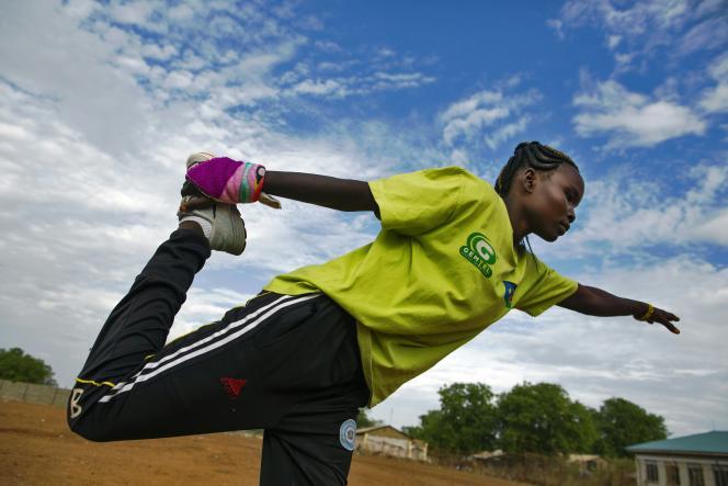 L'athlète Margret Rumat Rumar Hassan à Juba, capitale du Soudan du Sud, en mars 2016.