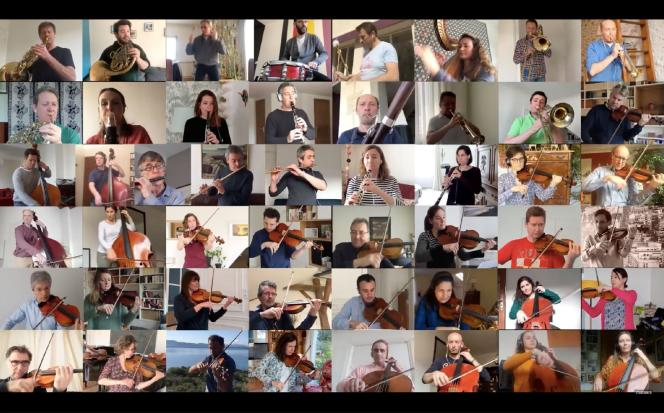 Capture d'écran d'une vidéo des musiciens de l'Orchestre national de France, chacun depuis leur domicile, le 31 mars.