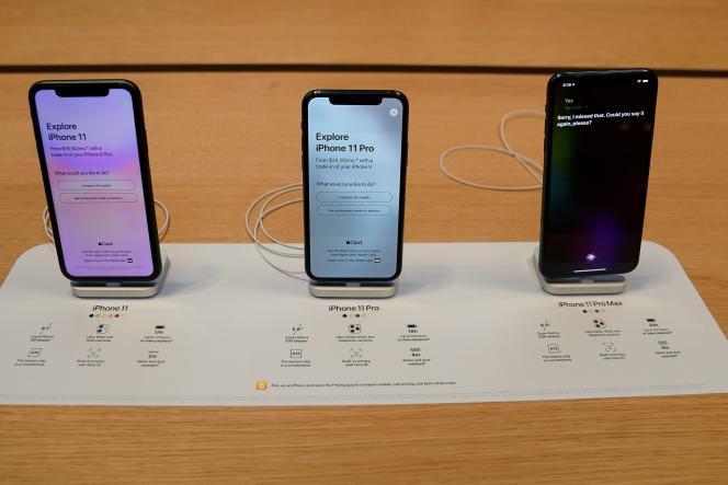 Des iPhone11 exposés dans un magasin Apple, à NewYork, enseptembre.